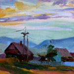 Рассвет. п.Межевой, 16х25, холст, картон, 2005