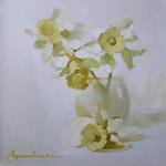 Белые нарциссы, 40х40, холст, масло 2009