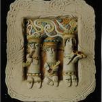 Декоративный рельеф «Музыканты», 1998. Шамот, глазурь