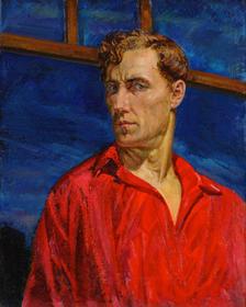 Николай Русаков. «Автопортрет в красной рубахе», 1935 год. Холст, масло. 74Х56